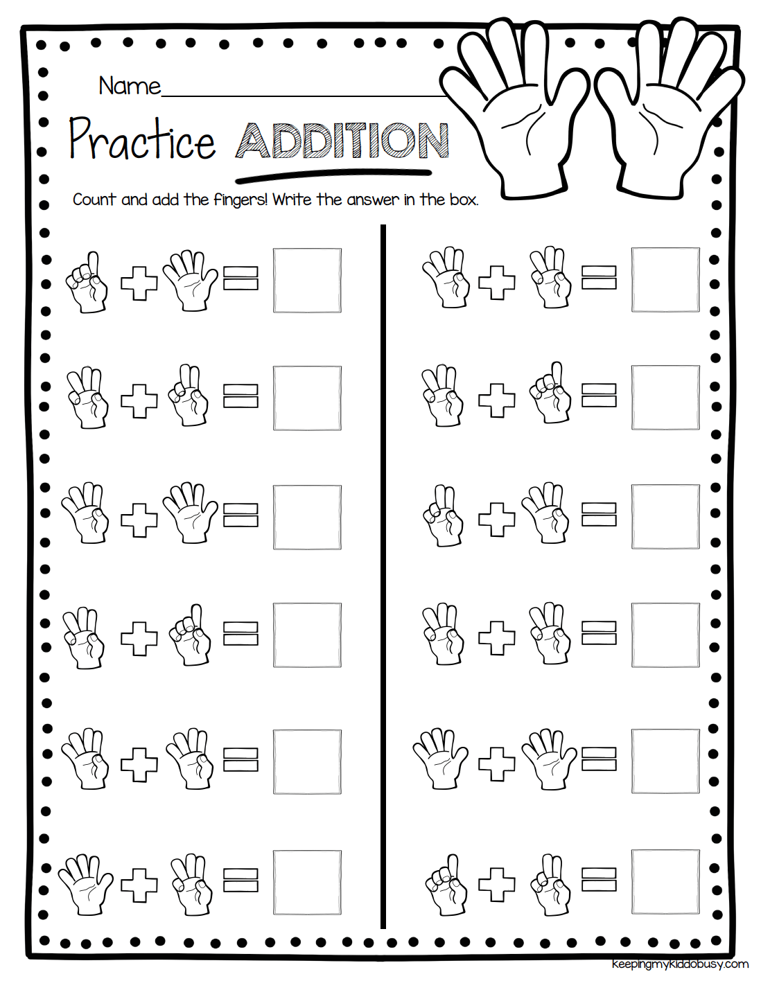 Addition Quiz For Kindergarten Worksheets