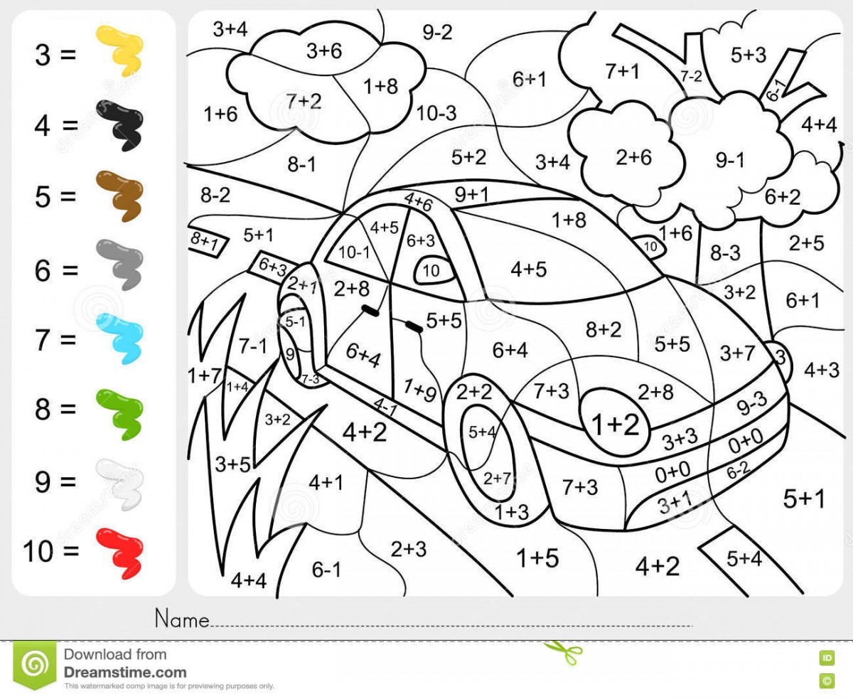 Addition And Subtraction Color By Number Worksheets