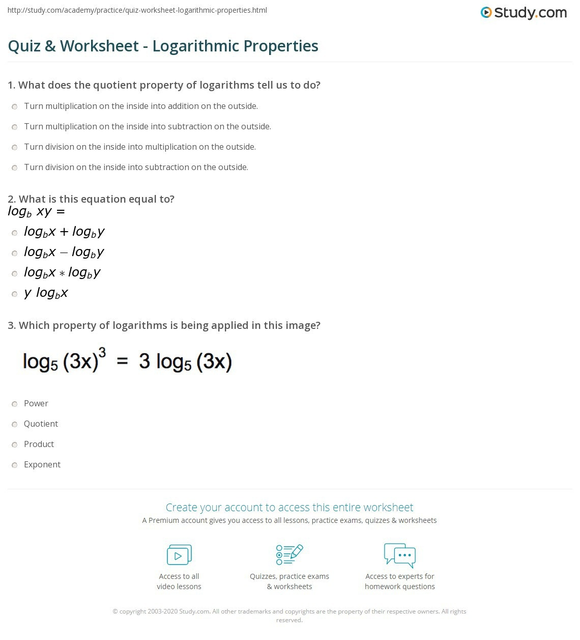 Log Addition Properties Worksheets