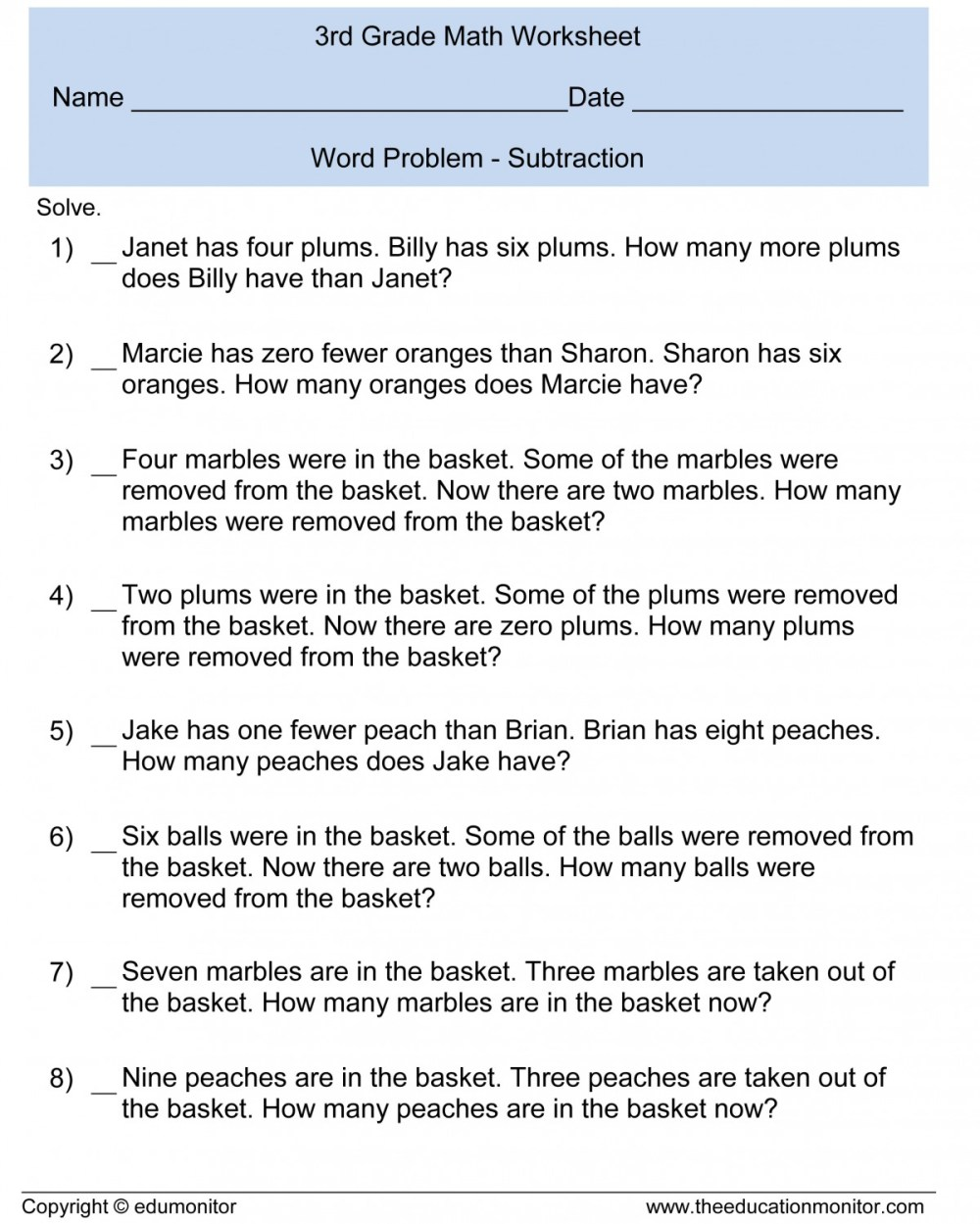 medium resolution of 3rd Grade Math Worksheets Addition Word Problems   Printable Worksheets and  Activities for Teachers