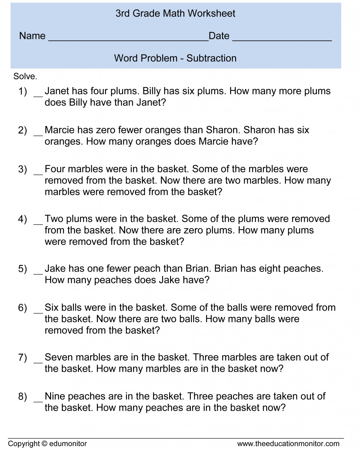 hight resolution of 3rd Grade Math Worksheets Addition Word Problems   Printable Worksheets and  Activities for Teachers