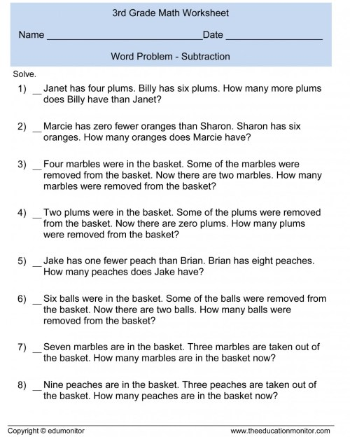 small resolution of 3rd Grade Math Worksheets Addition Word Problems   Printable Worksheets and  Activities for Teachers