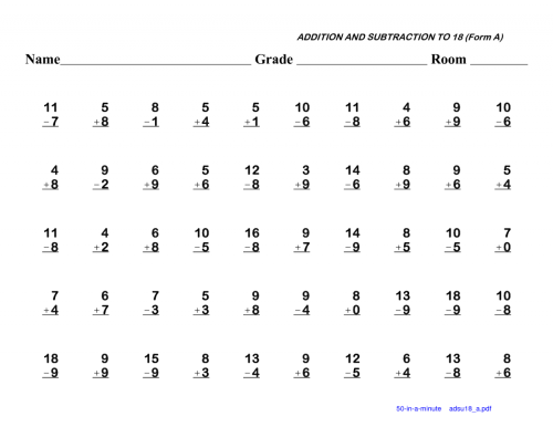 small resolution of Simple Addition And Subtraction For First Grade Worksheets   Worksheet Hero