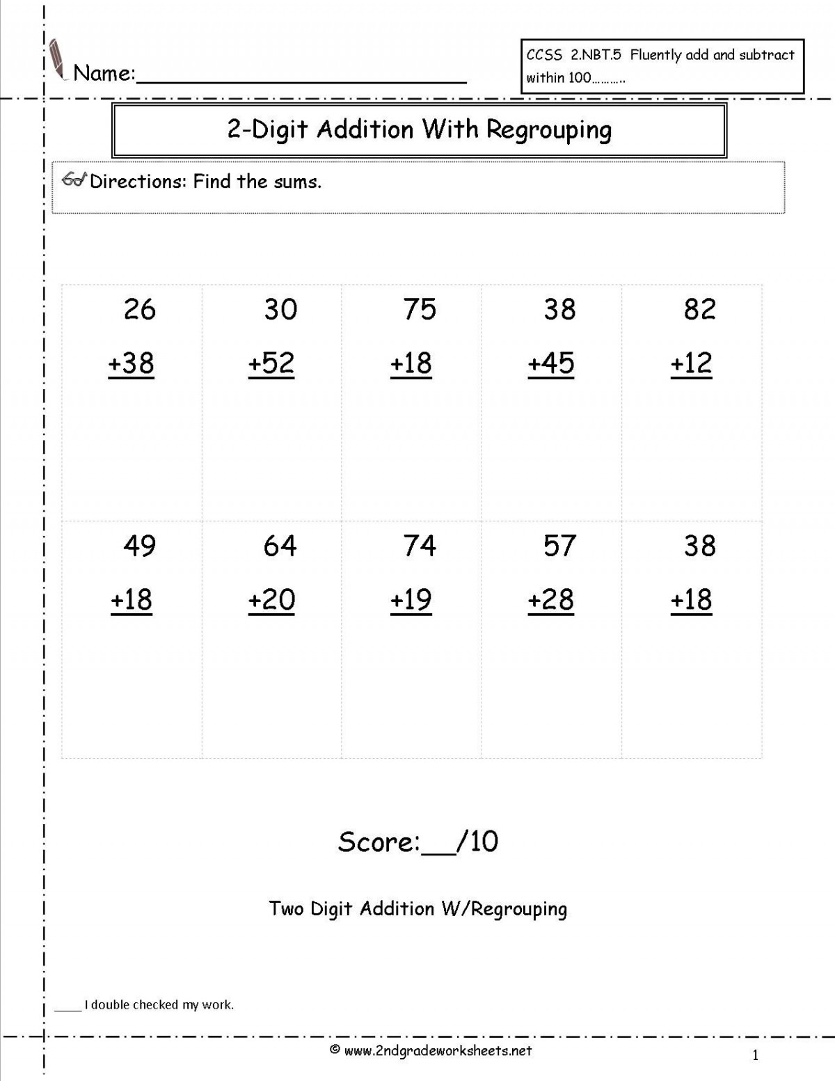 Addition Test Worksheets