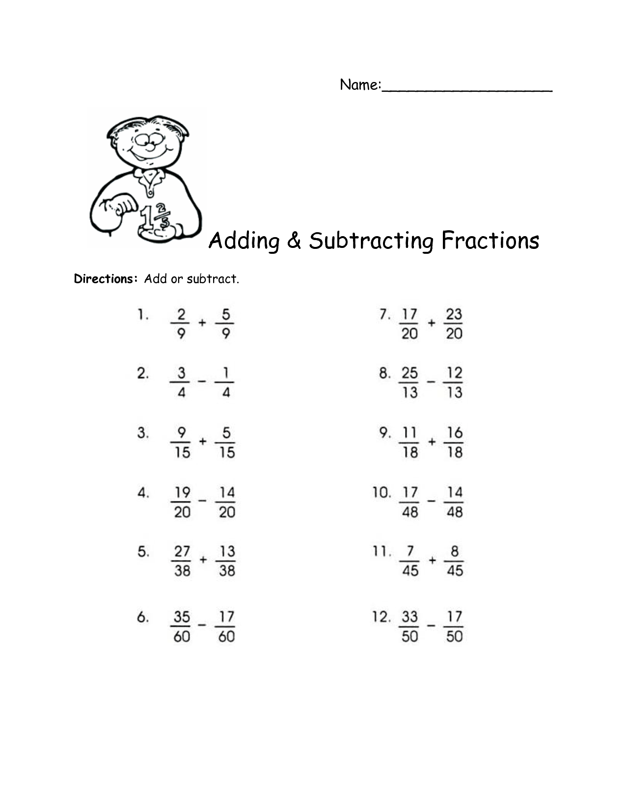 11 Best Images Of Subtracting Fractions With Unlike