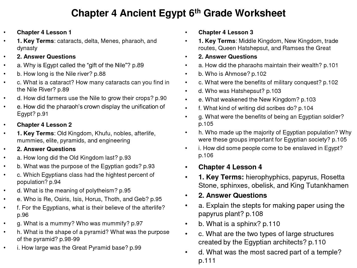 6 Best Images Of Ancient Egypt Nile River Worksheet