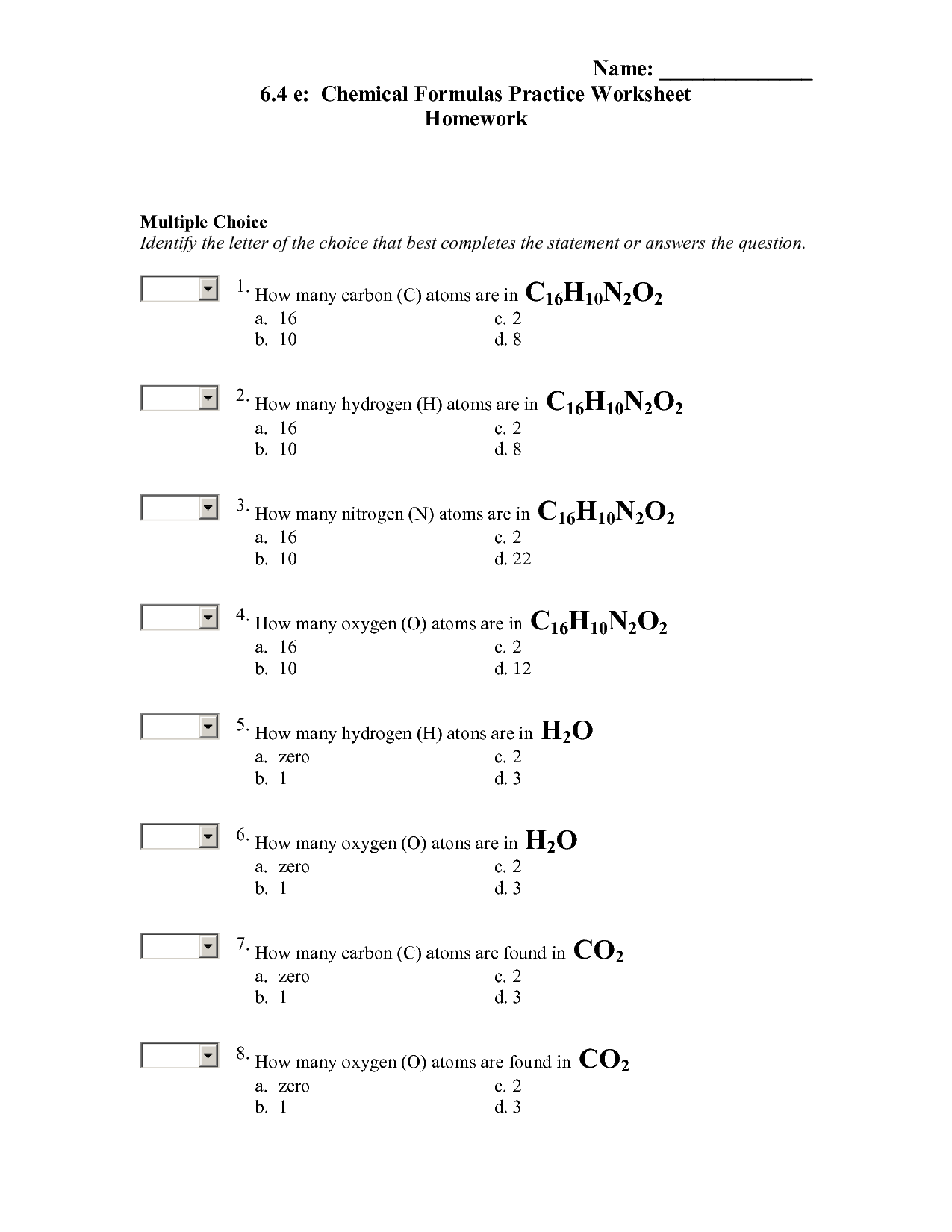 17 Best Images Of Chemical Formula Worksheet Answers