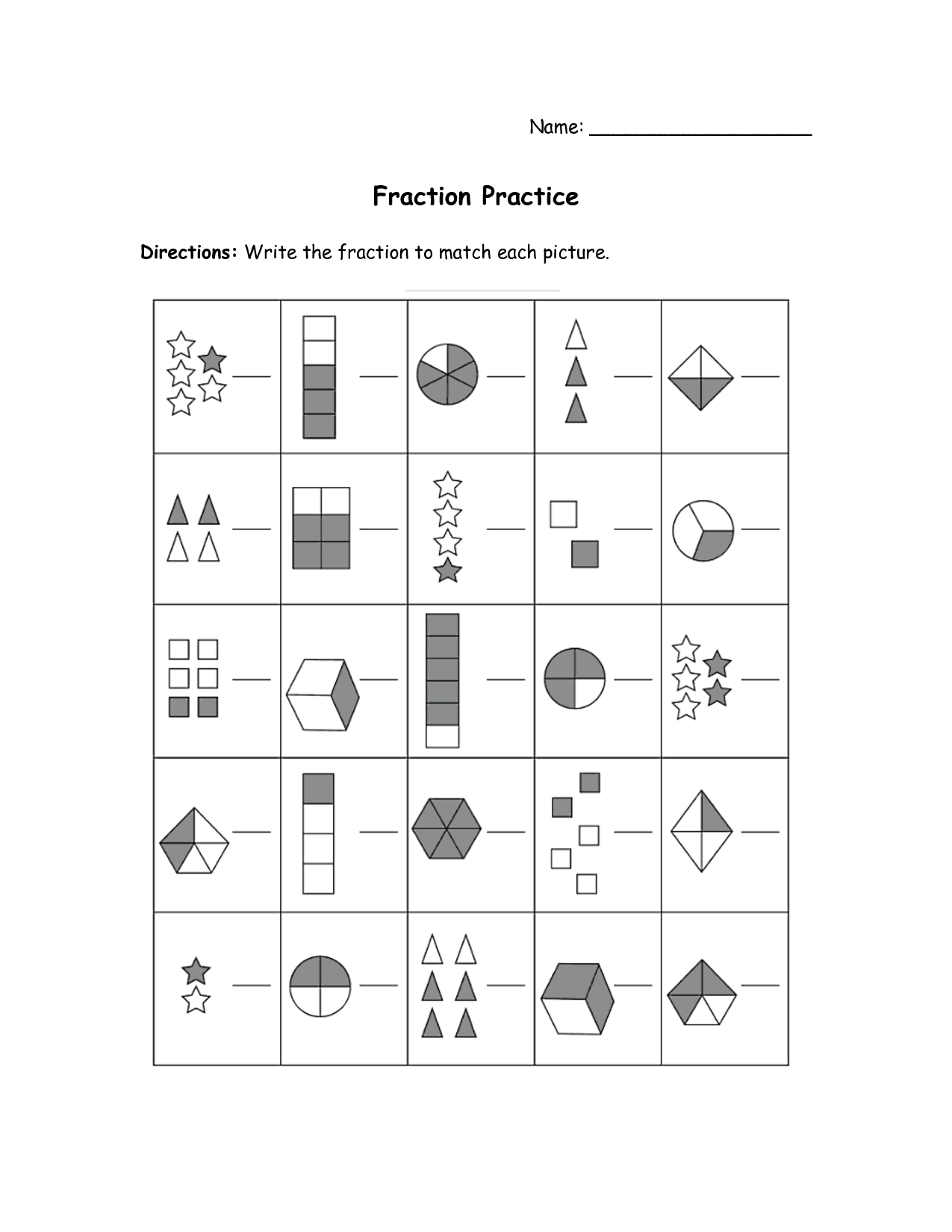 Fraction Practice Worksheets