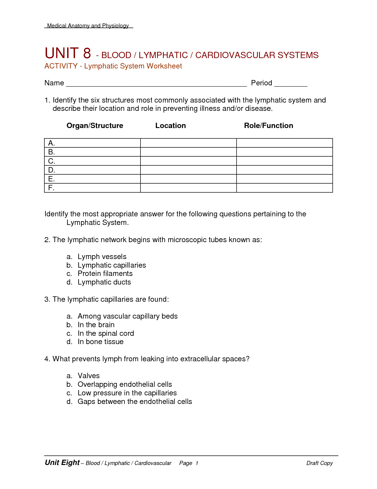 19 Best Images Of Anatomy And Physiology Blood Worksheet