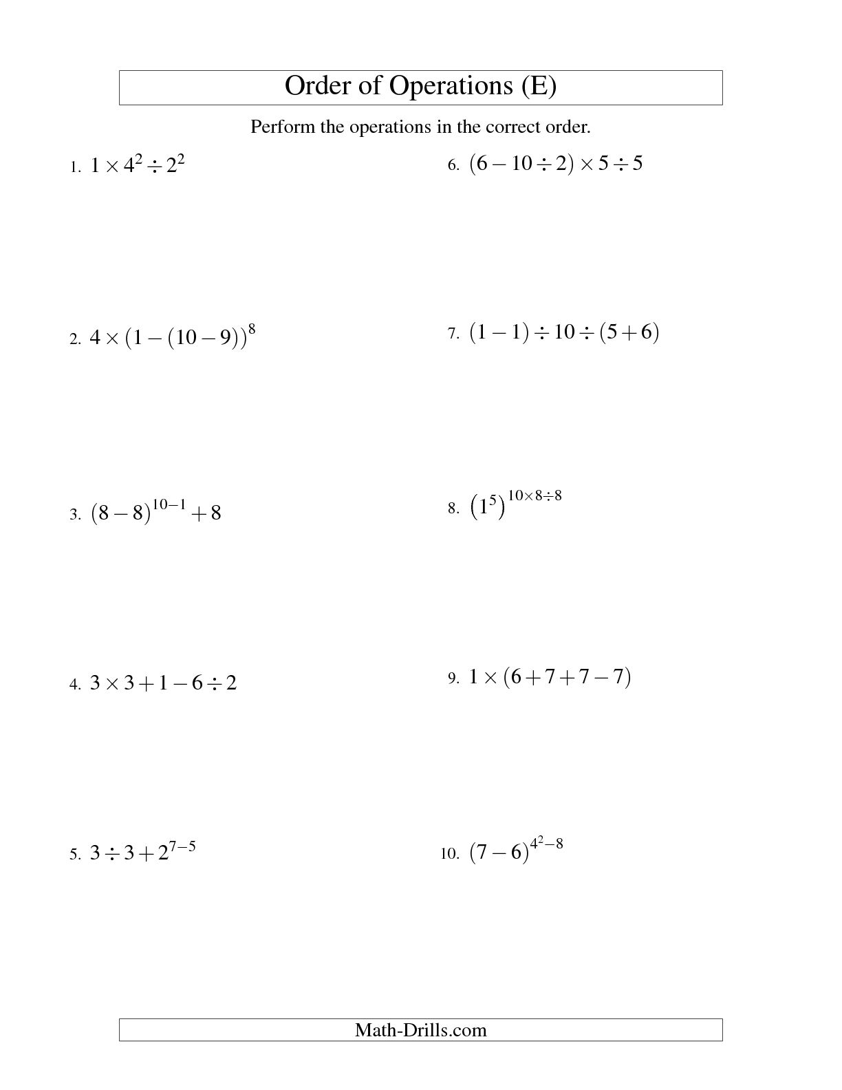 - Pemdas Worksheet 7th Grade Math Printable Worksheets And