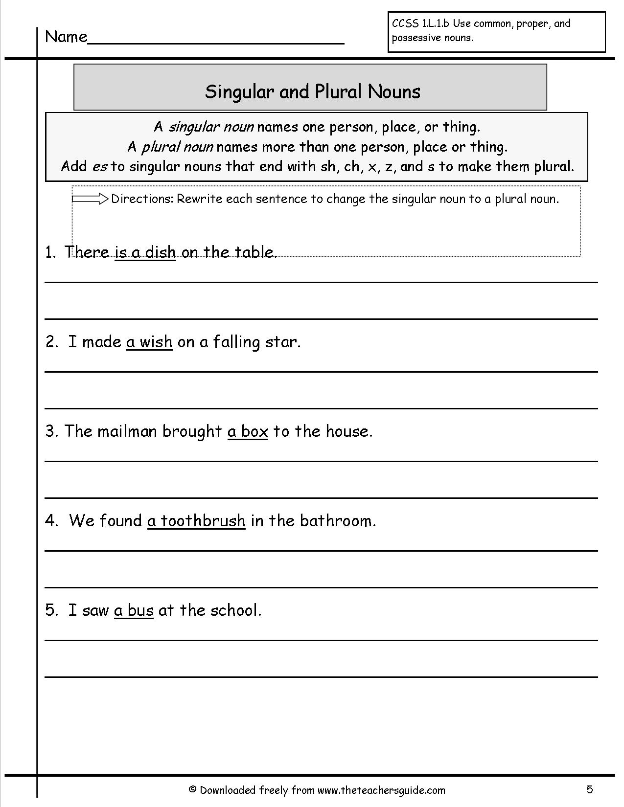 11 Best Images Of Singular And Plural Nouns Worksheets