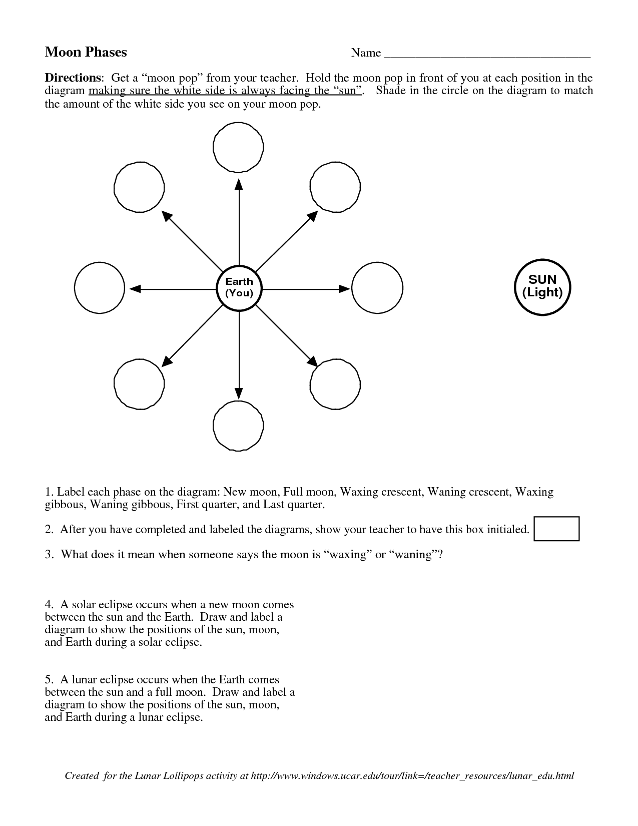 12 Best Images Of Earth Moon System Worksheets