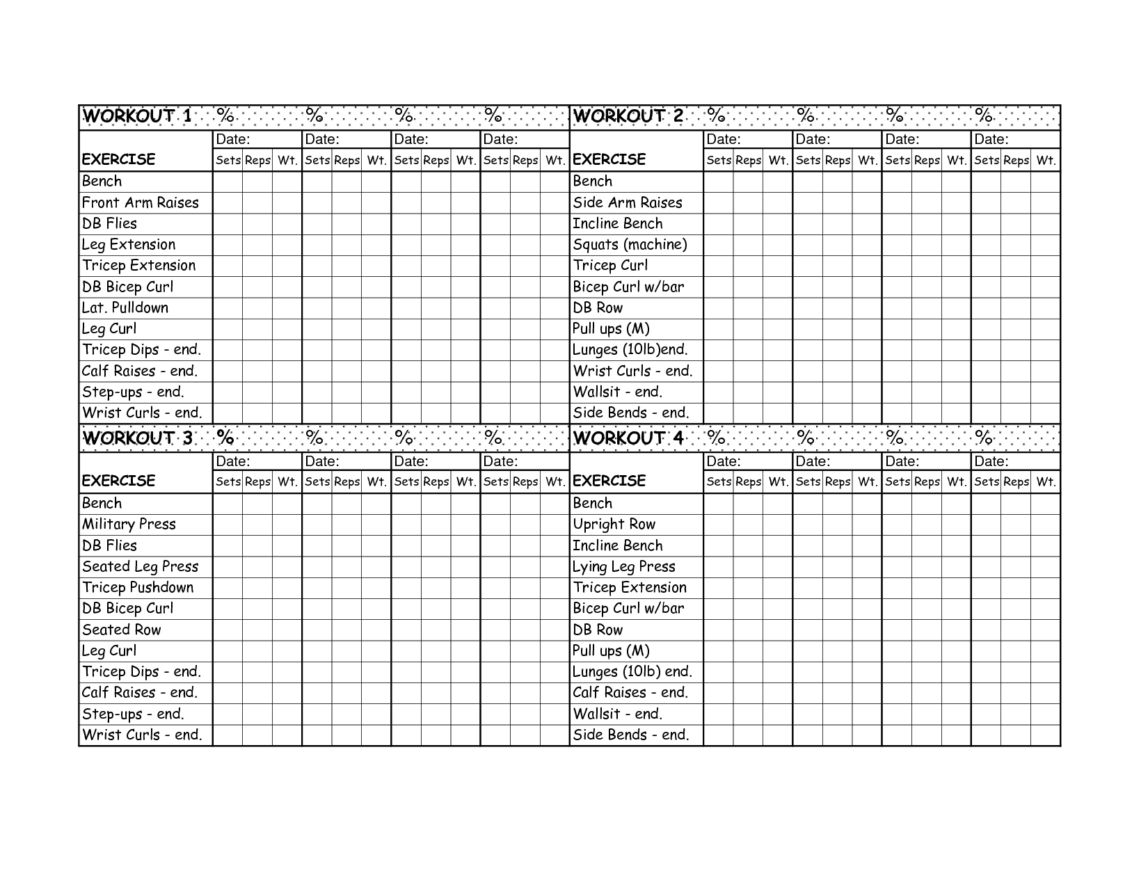 12 Best Images Of Printable Exercise Worksheets