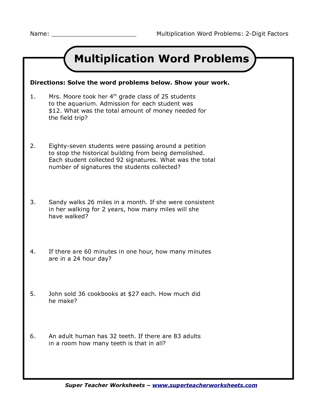 Search Results For Math Multiplication Word Problem