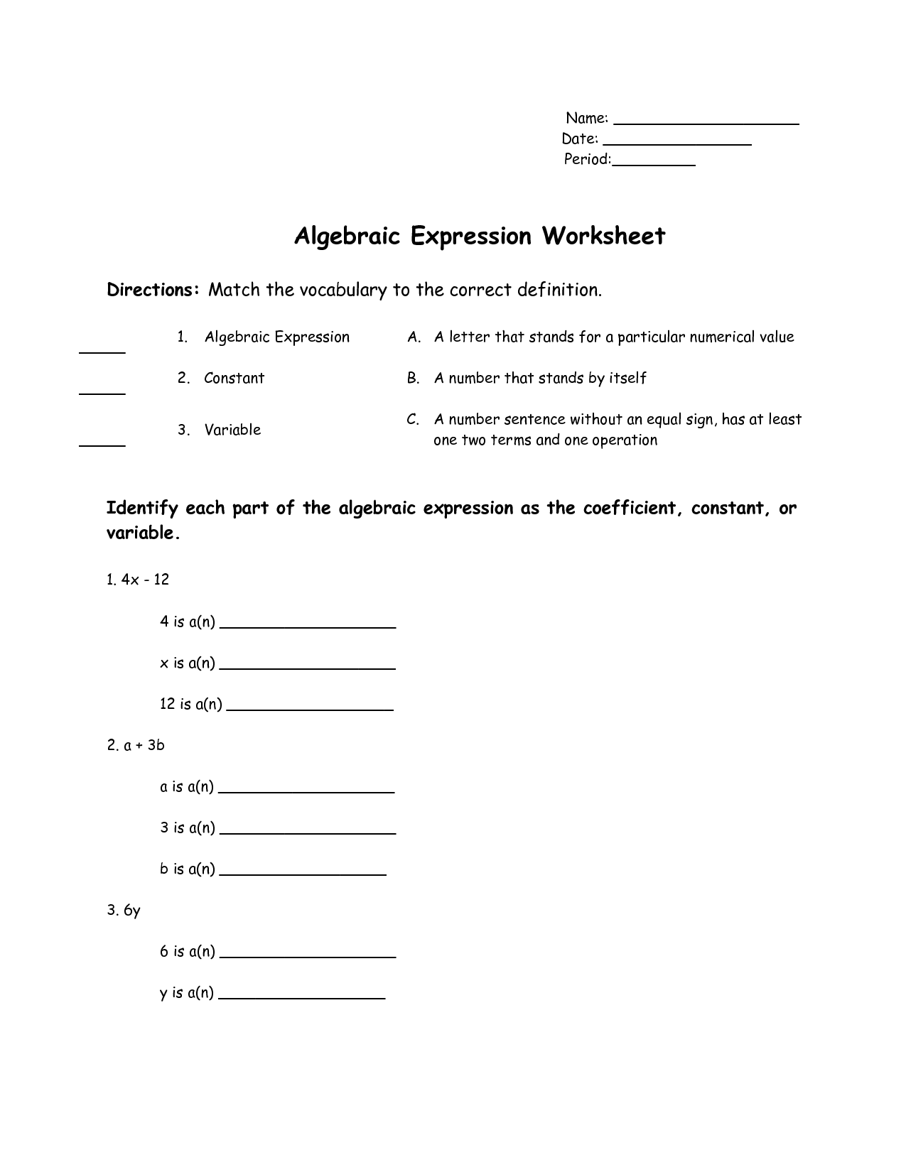 19 Best Images Of Worksheets Algebraic Expressions