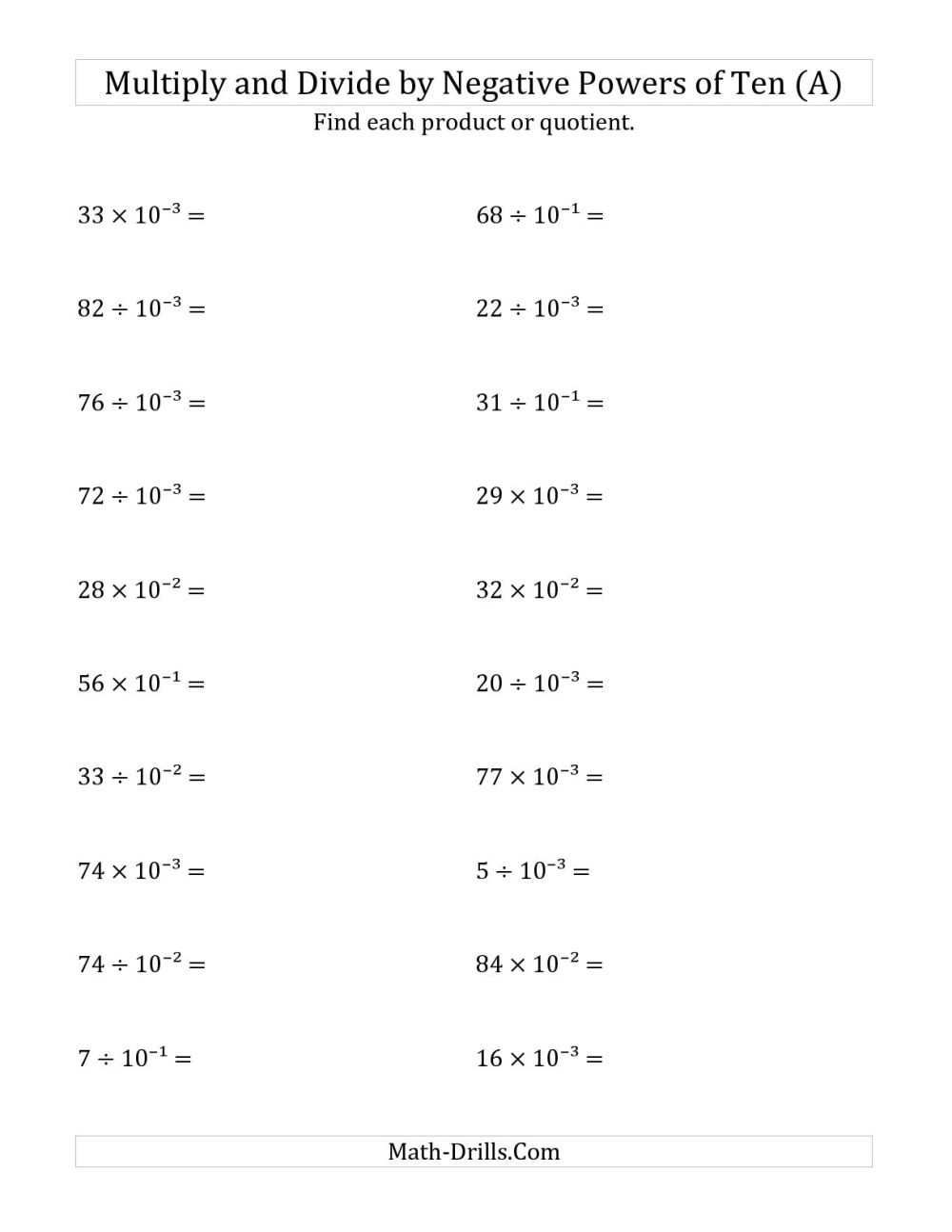medium resolution of Negative Math Worksheets   Printable Worksheets and Activities for  Teachers