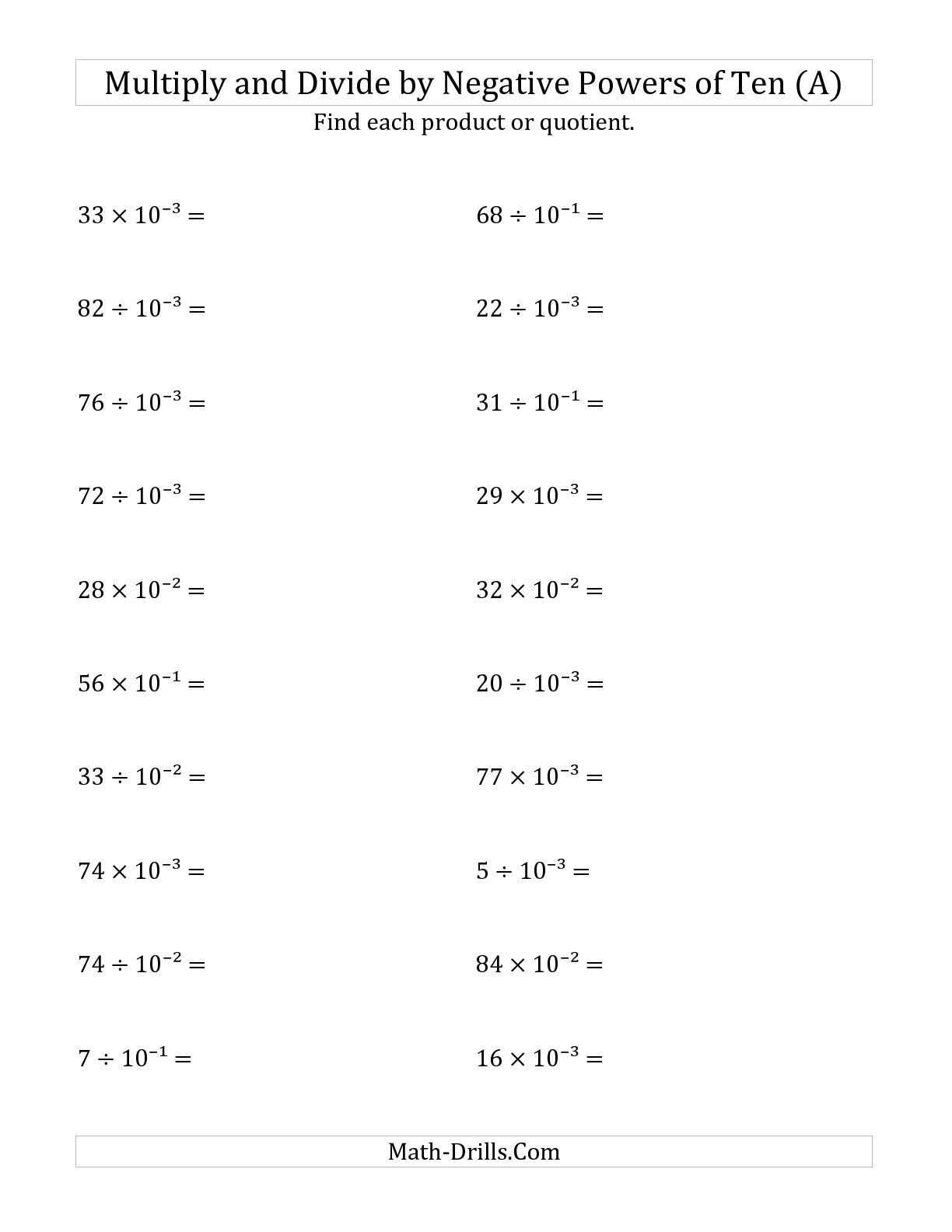 hight resolution of Negative Math Worksheets   Printable Worksheets and Activities for  Teachers