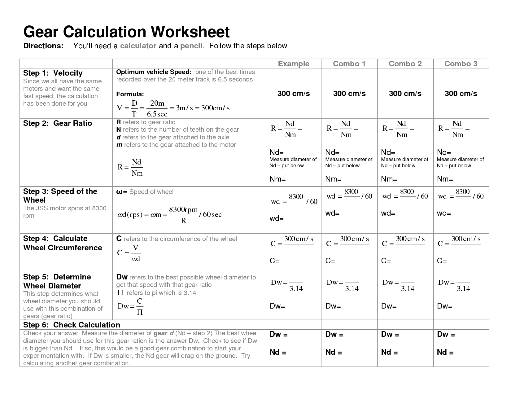 Gear Ratio Worksheet