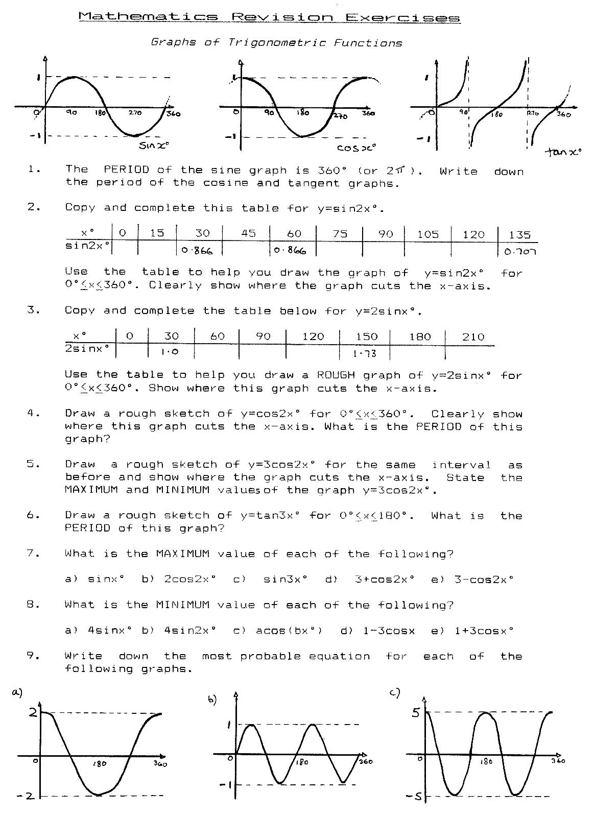 Trigonometry Applications Worksheet