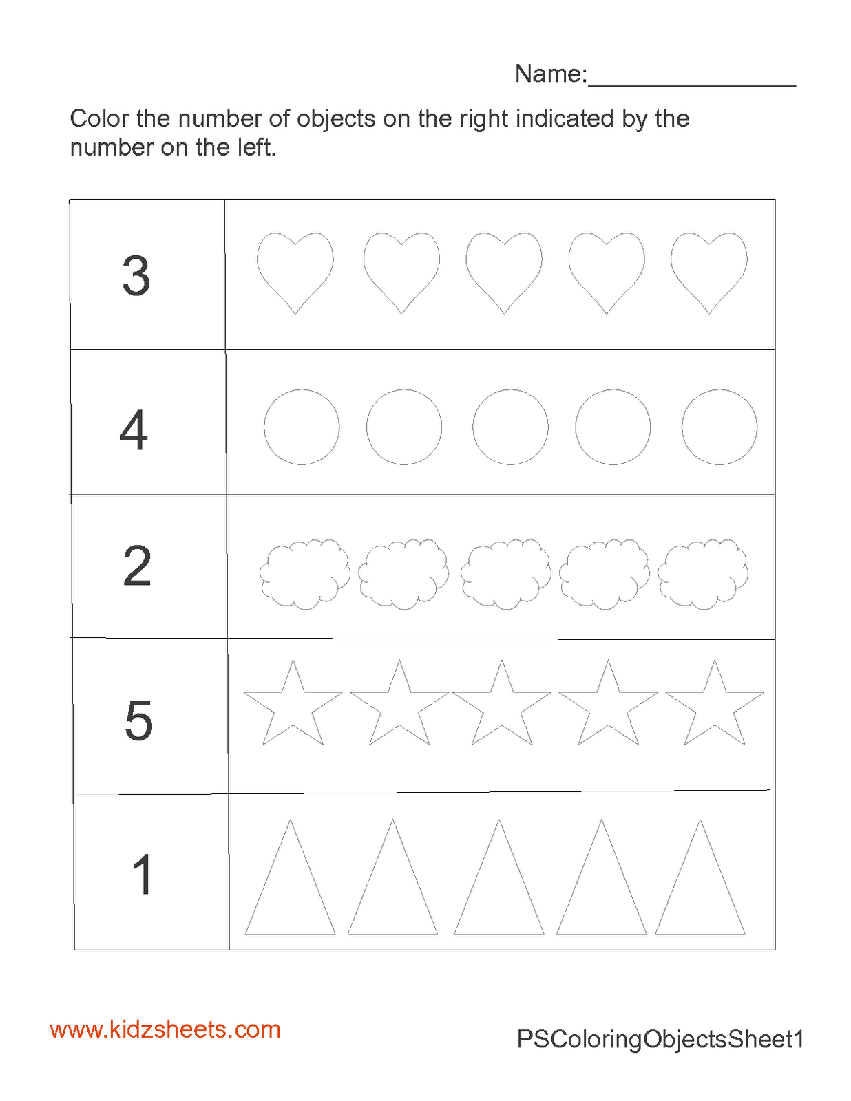 Touch Counting Worksheet