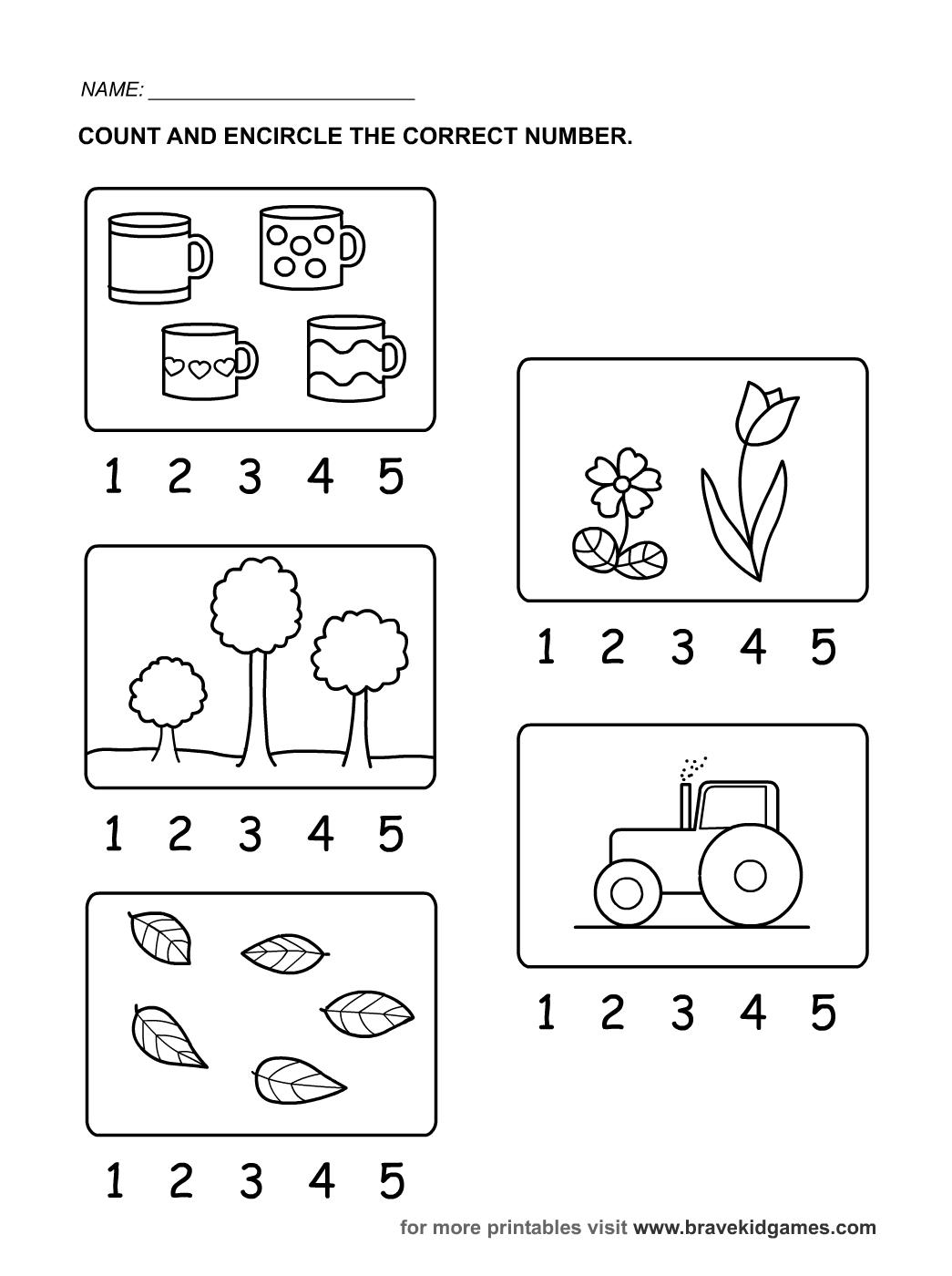 16 Best Images Of Kindergarten Counting Worksheets 1 5