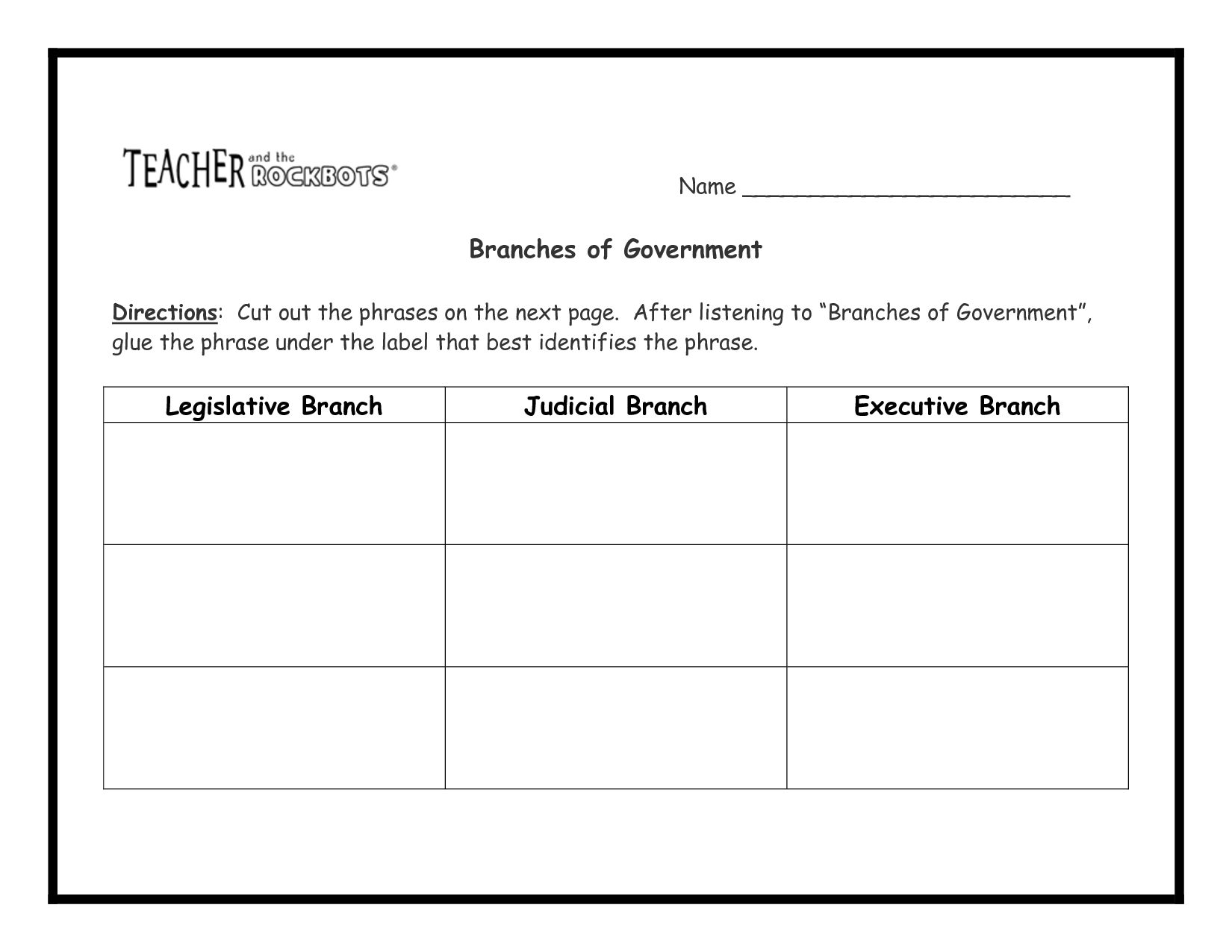 15 Best Images Of The Branches Of Government Worksheet