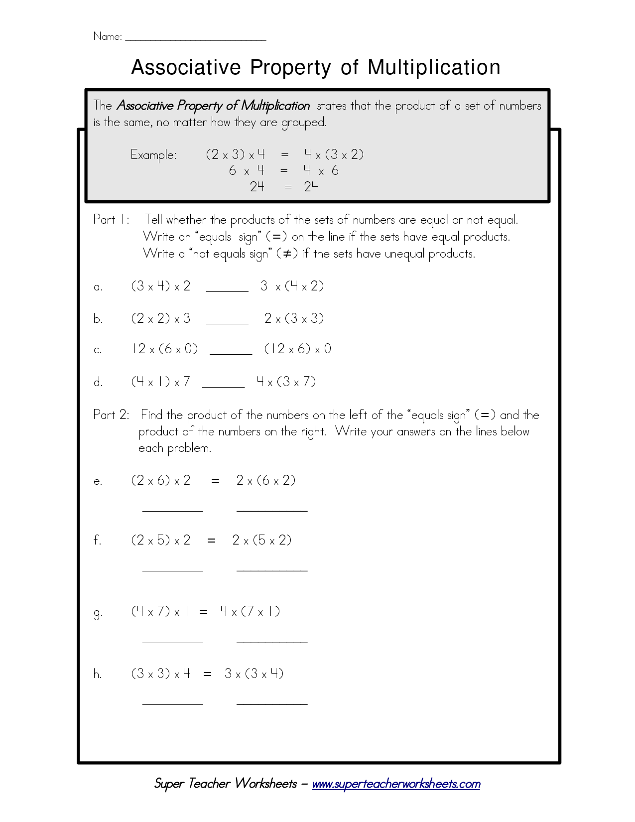 Properties Of Multiplication Worksheets 6th Grade