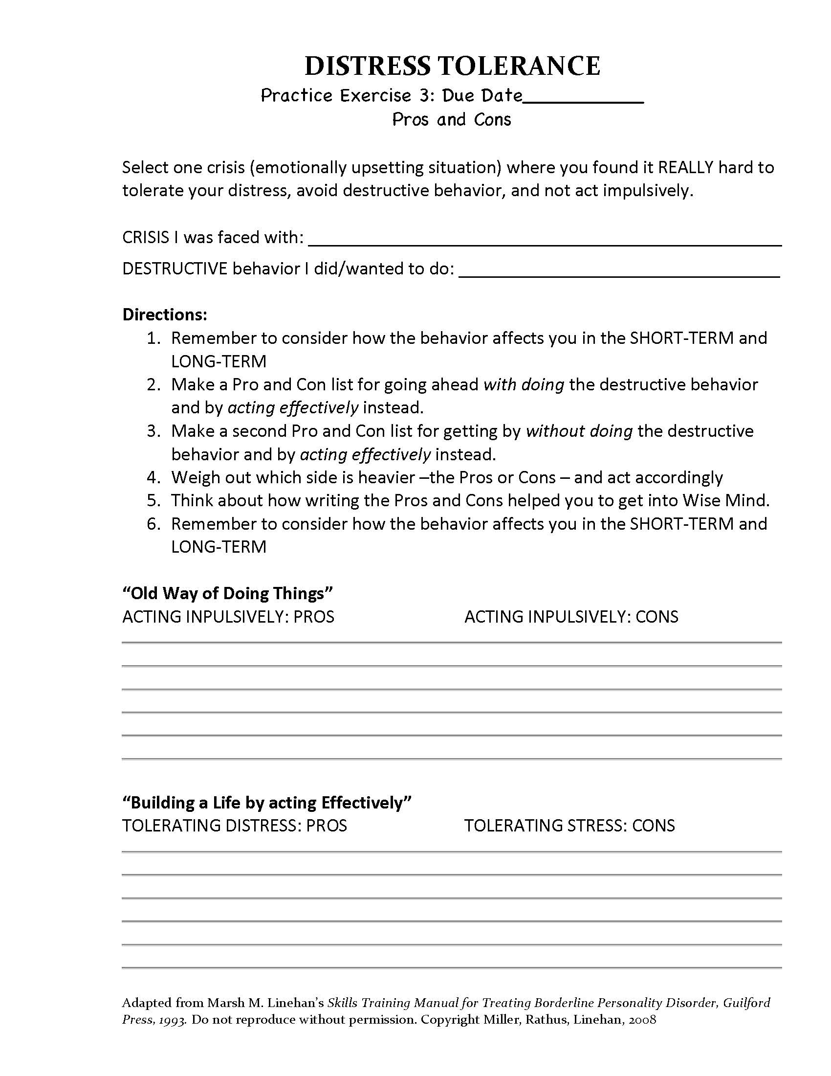 19 Best Images Of Distress Tolerance Worksheets