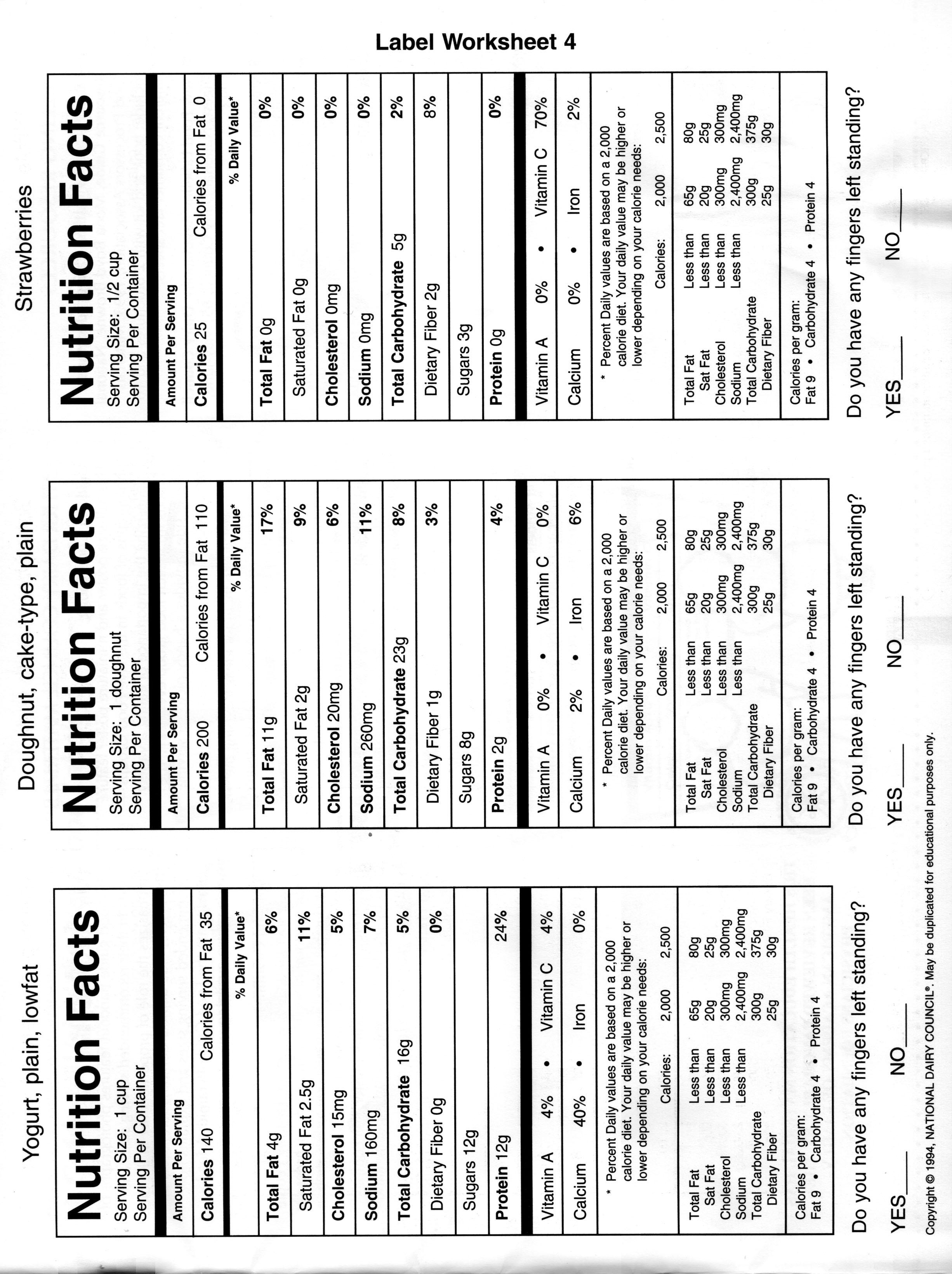 Printable Nutrition Labels