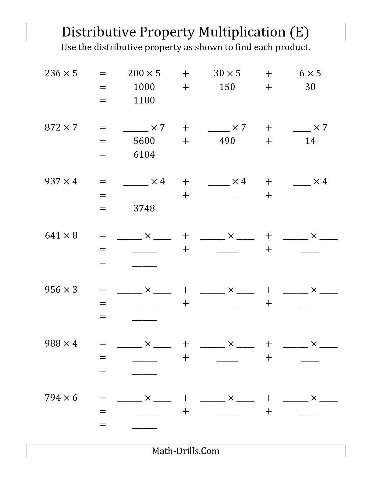 12 Best Images Of Distributive Property Worksheets Print