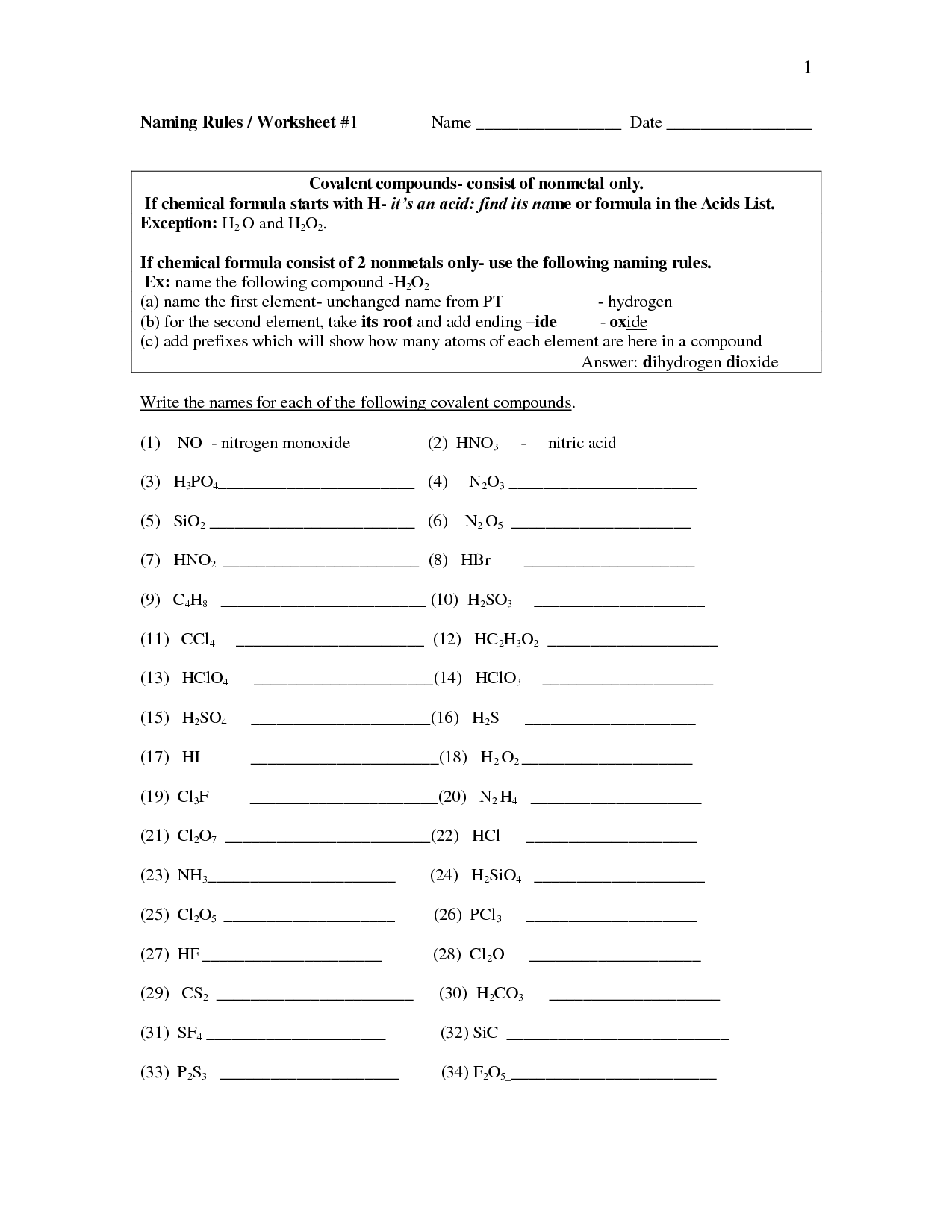 Naming Organic Compounds Worksheet