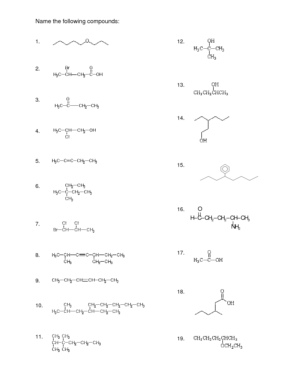 27 Organic Compounds Worksheet Answers