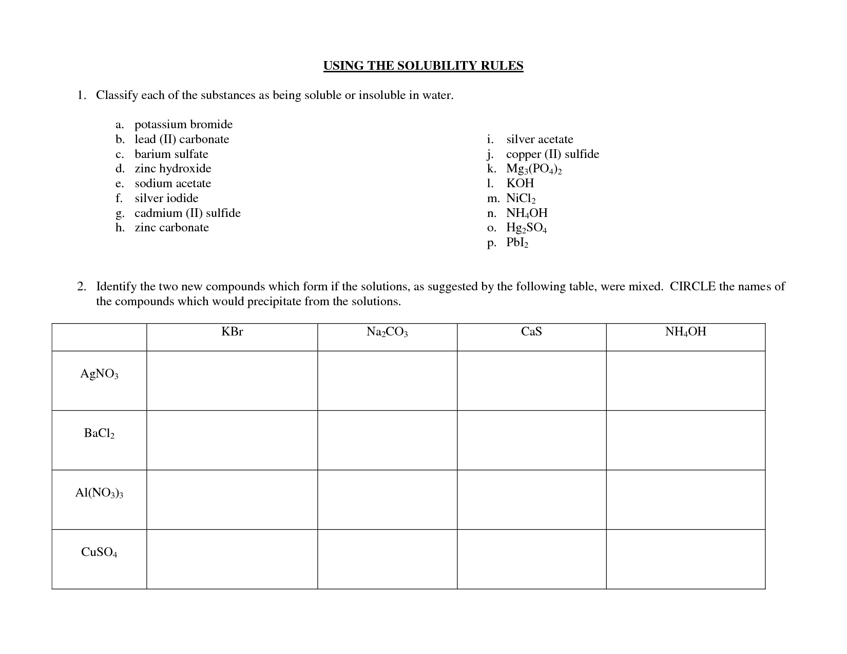 Solubility Worksheet Answer Key
