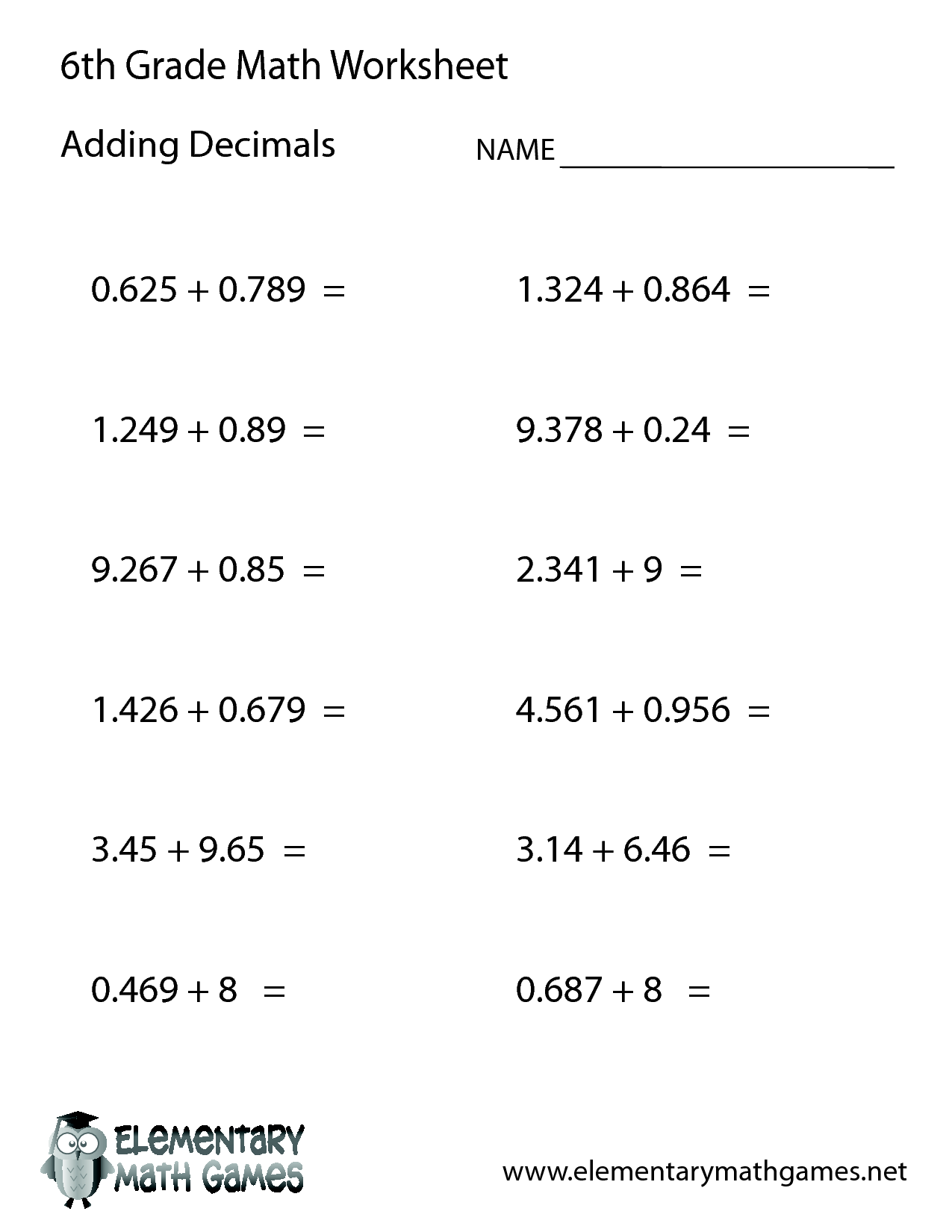 Math Word Problems Grade 6 Worksheet