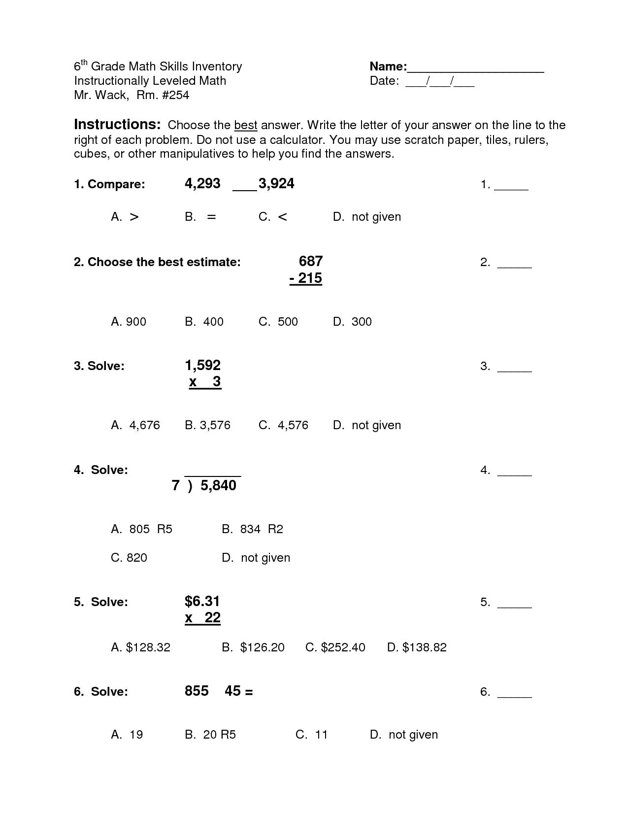 6 Grade Math Worksheet Percents
