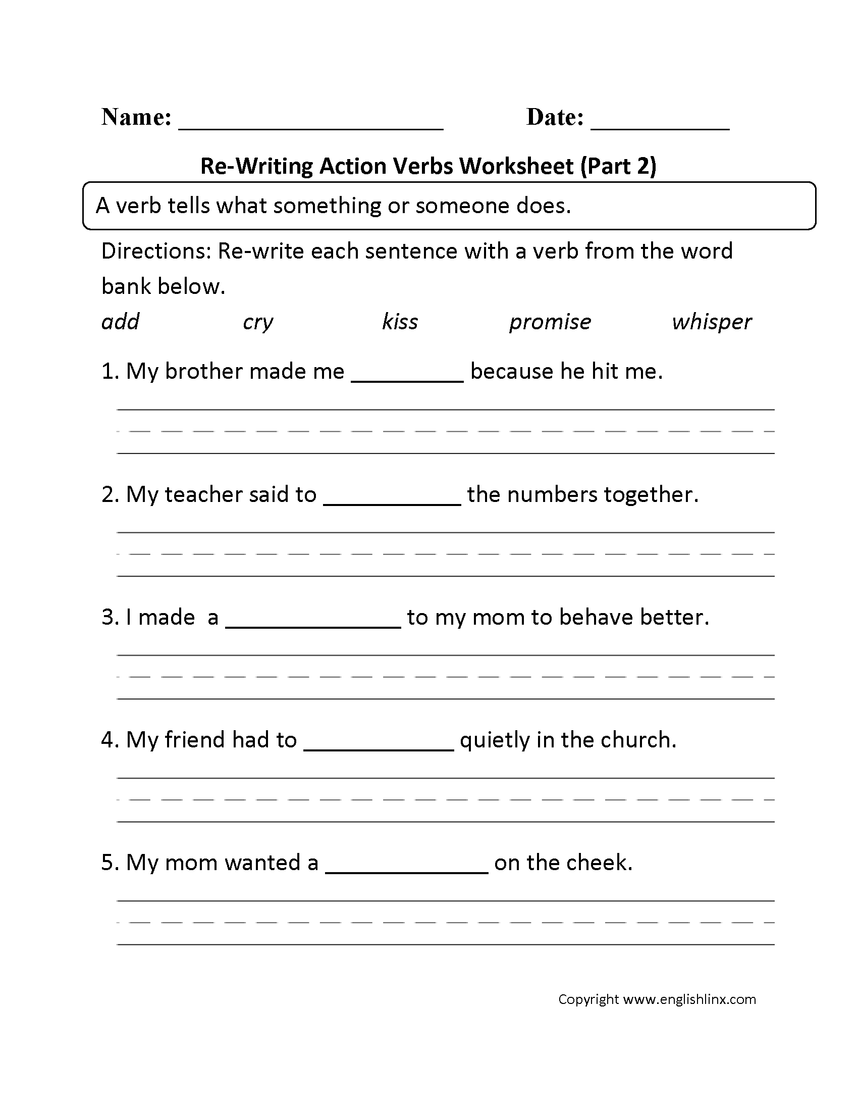 Worksheet On Subject Verb Agreement For Class 4