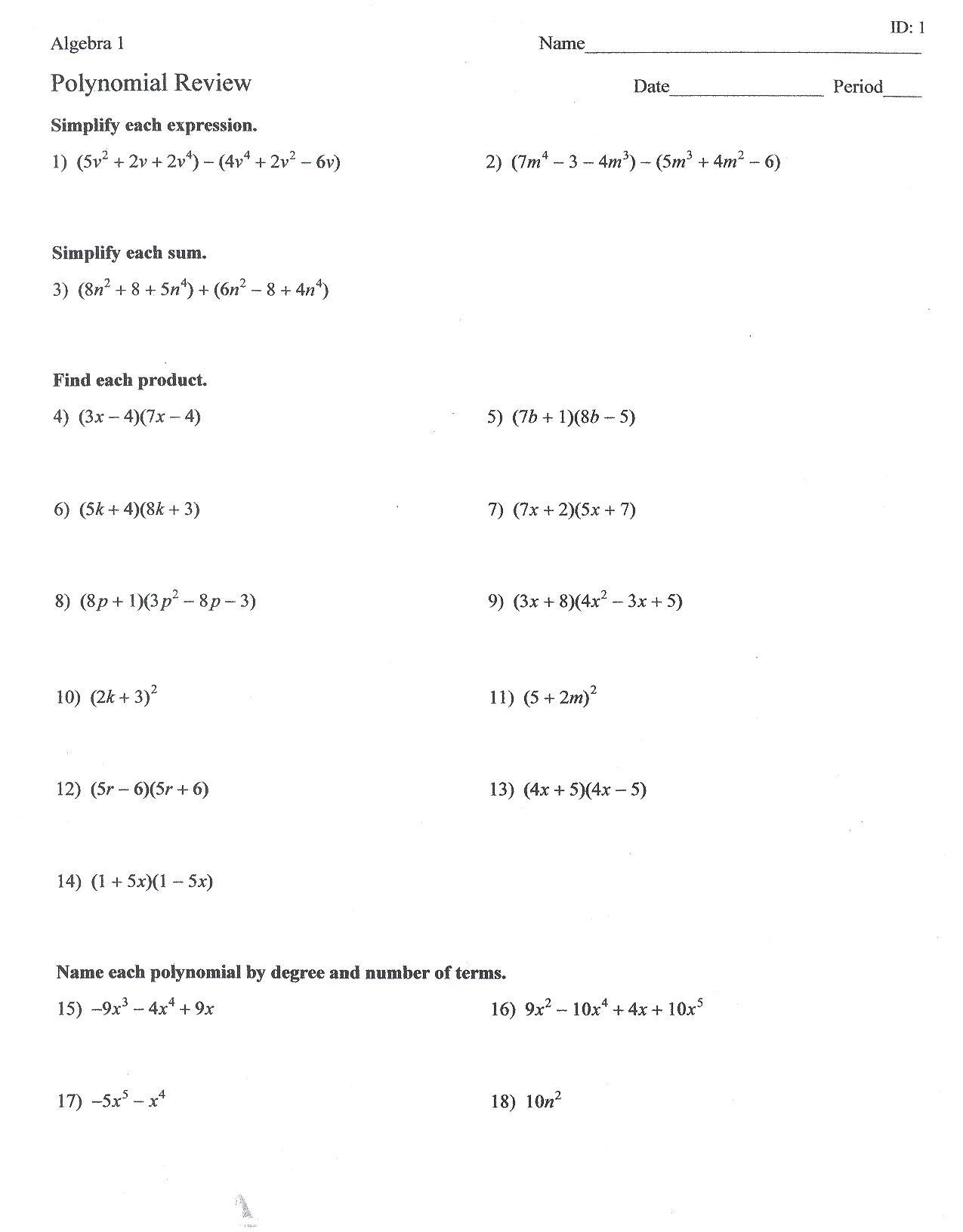 Algebra 2 Factoring Review Worksheet Answers