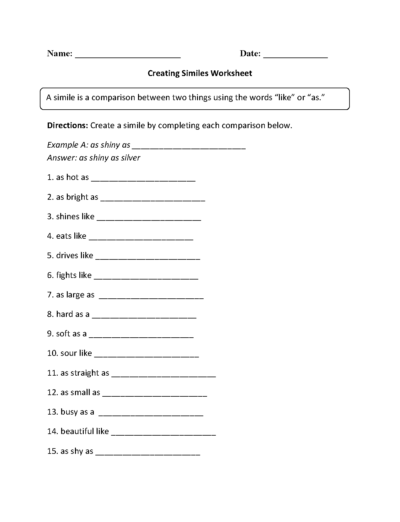 Hyperbole Worksheet Middle Grades
