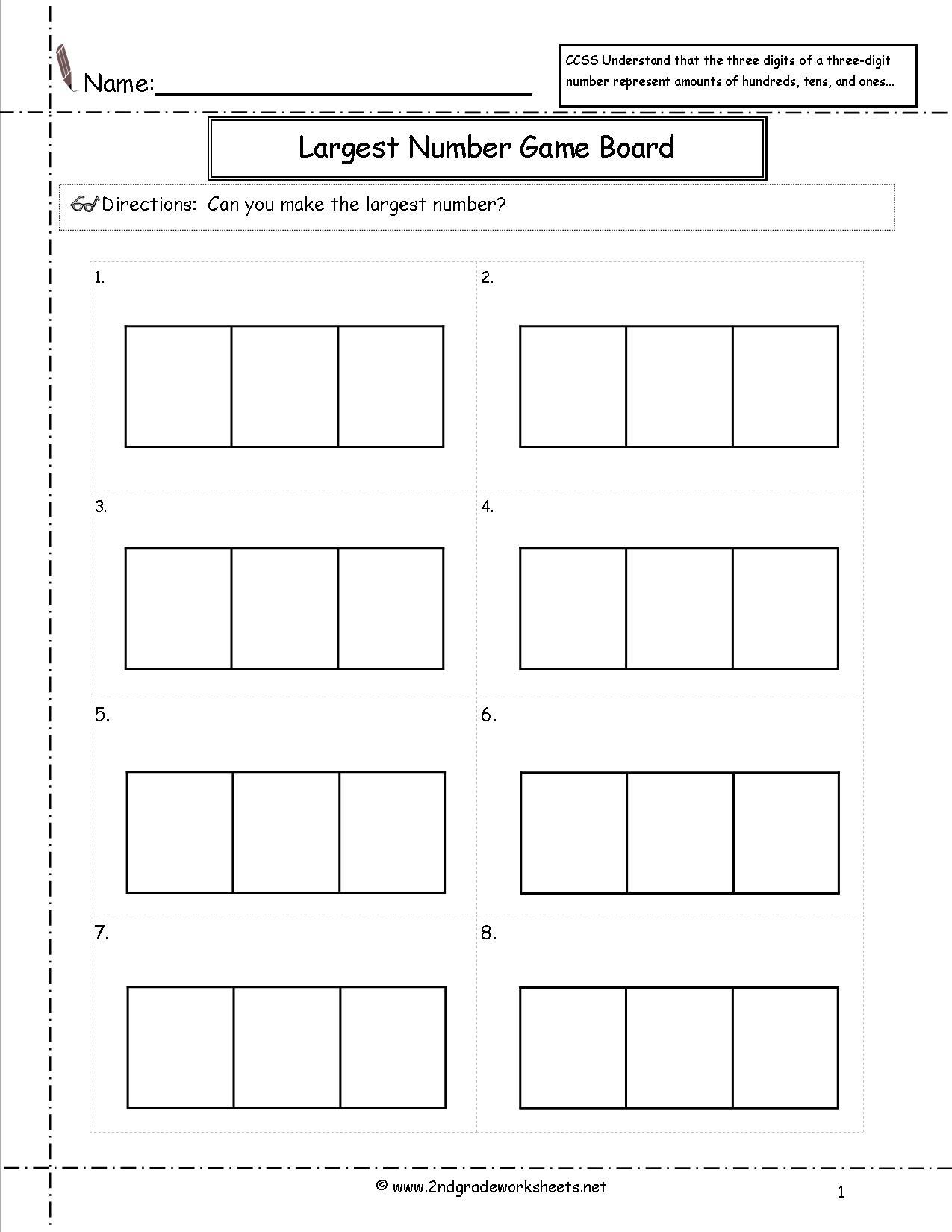 Print 2nd Grade Math Worksheet Place Value