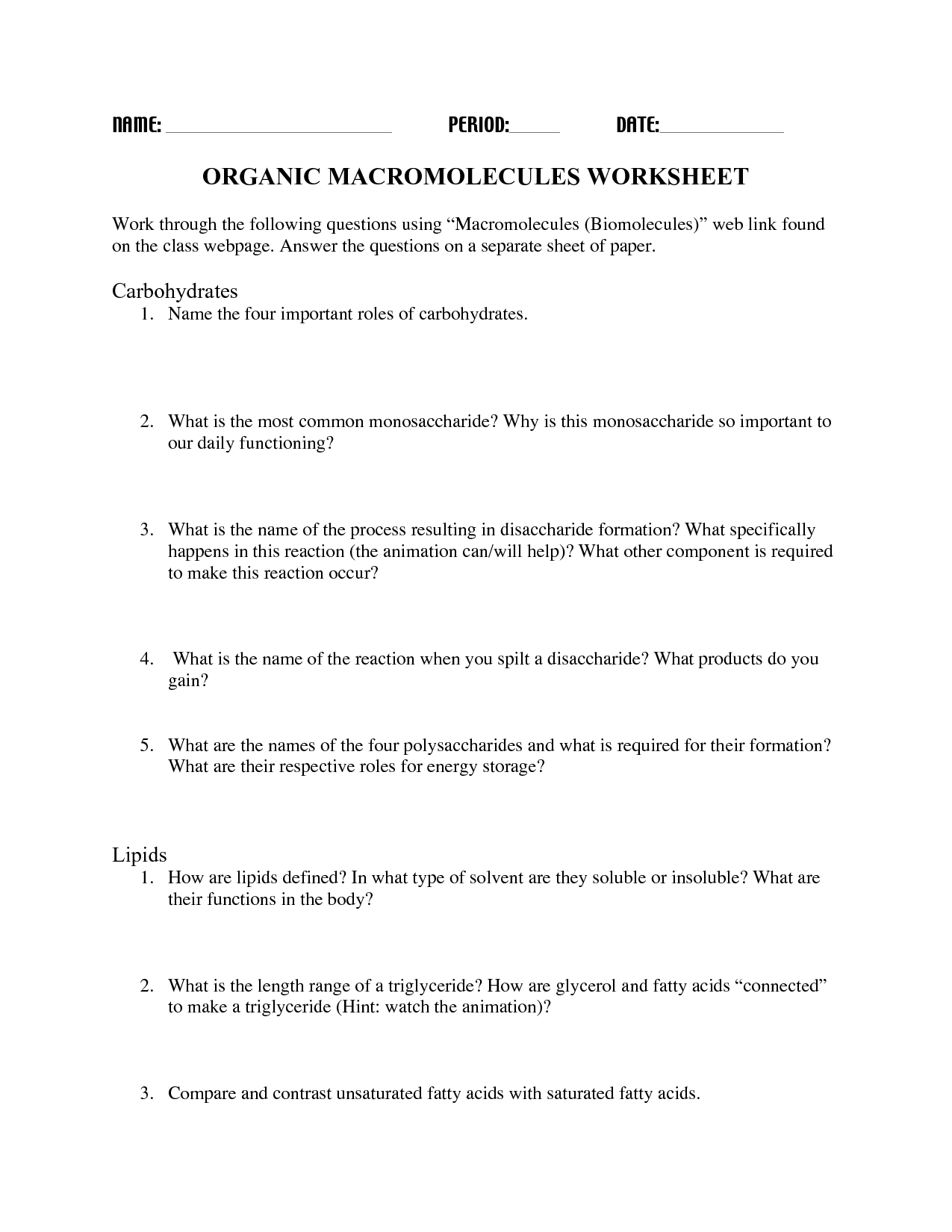 16 Best Images Of Building Macromolecules Worksheet Answer D