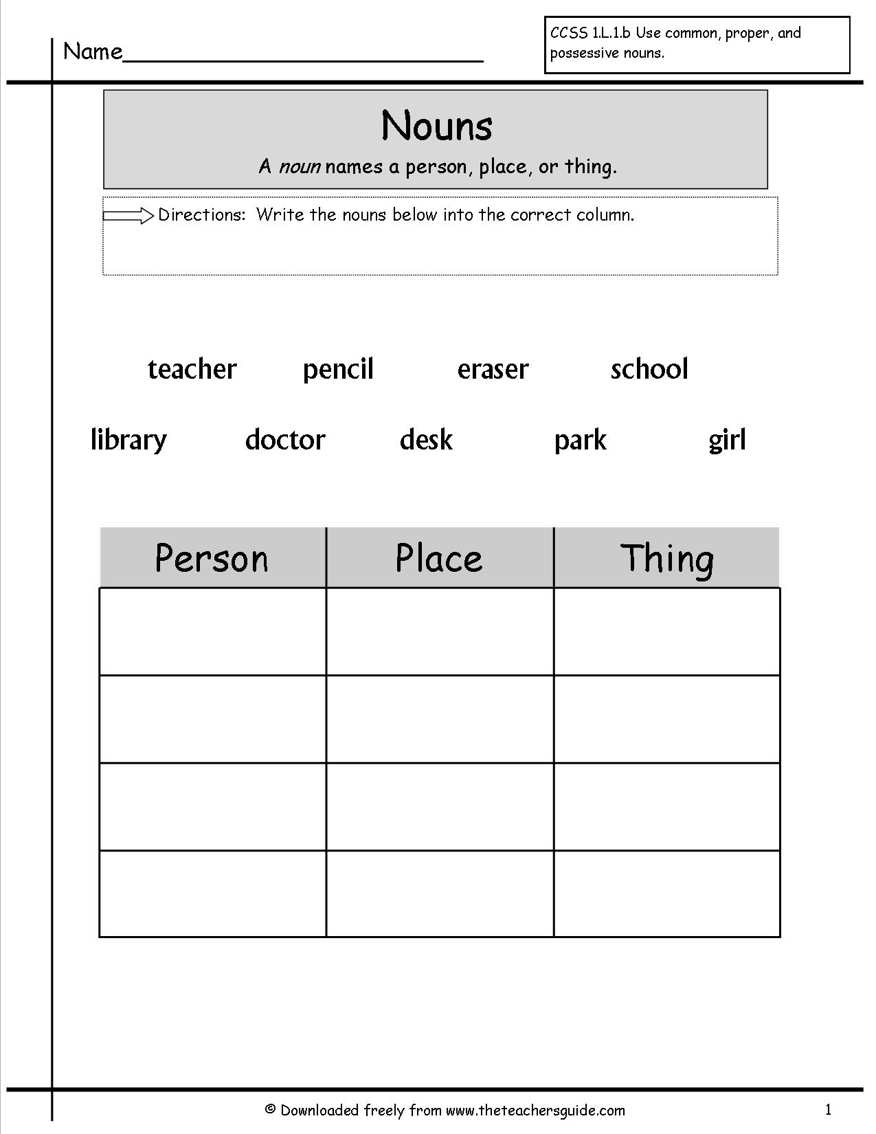 15 Best Images Of Noun Worksheets For Kindergarten