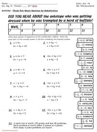 Math Worksheets Substitution Method