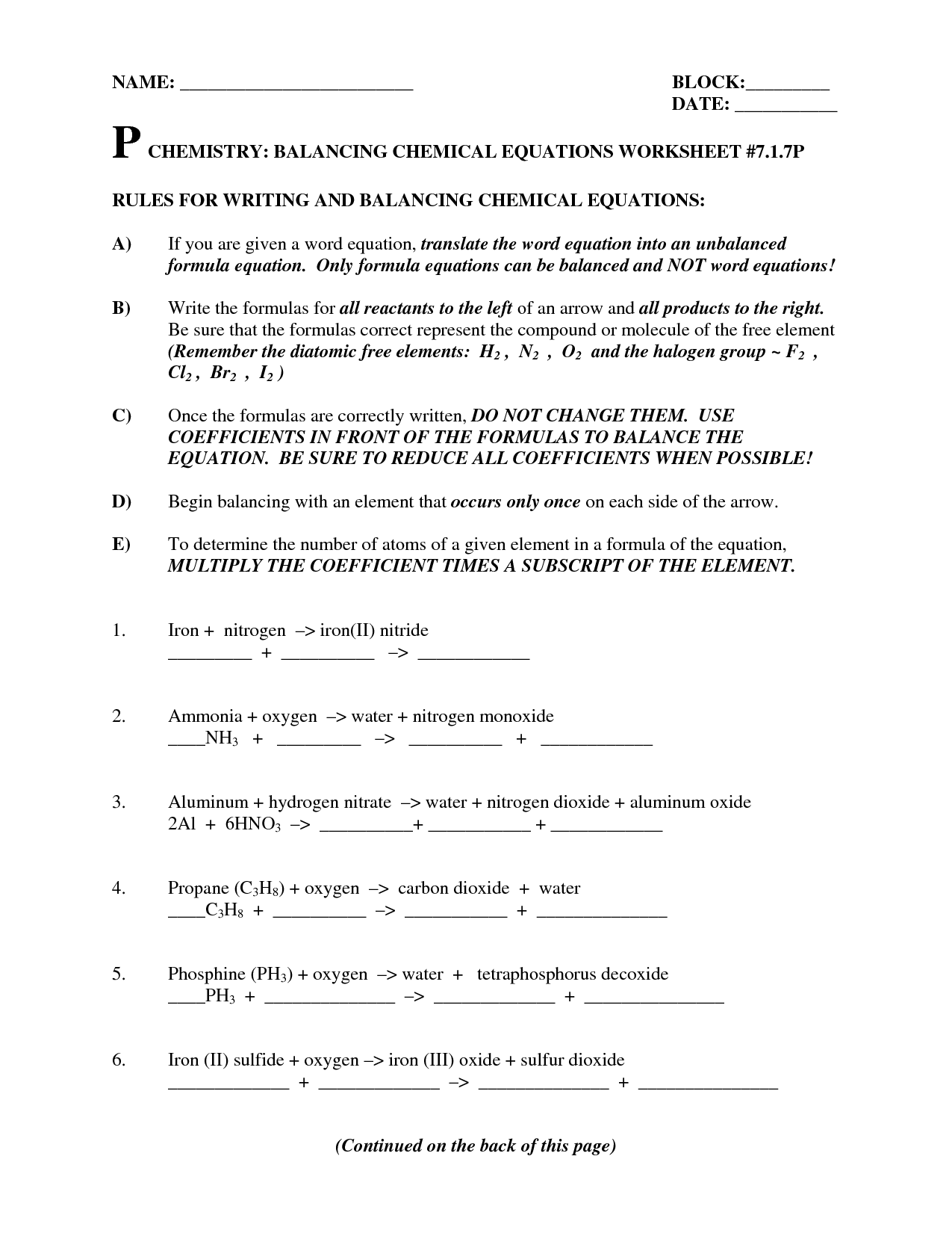 Chemistry Balancing Equations Worksheet