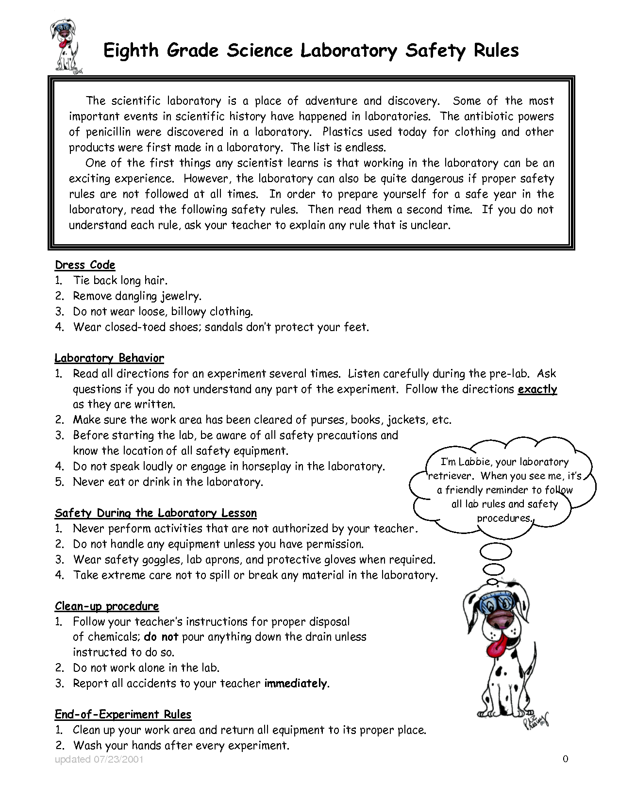Kindergarten Science Safety Rules Worksheet