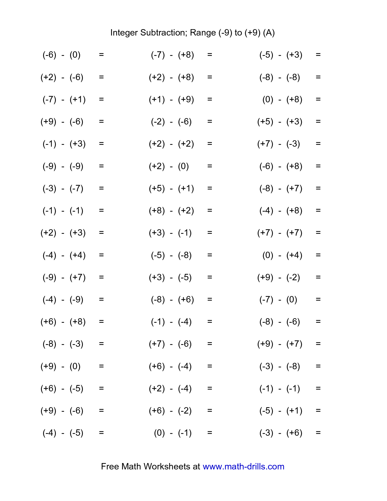 15 Best Images Of Integers Worksheets For 7th Grade