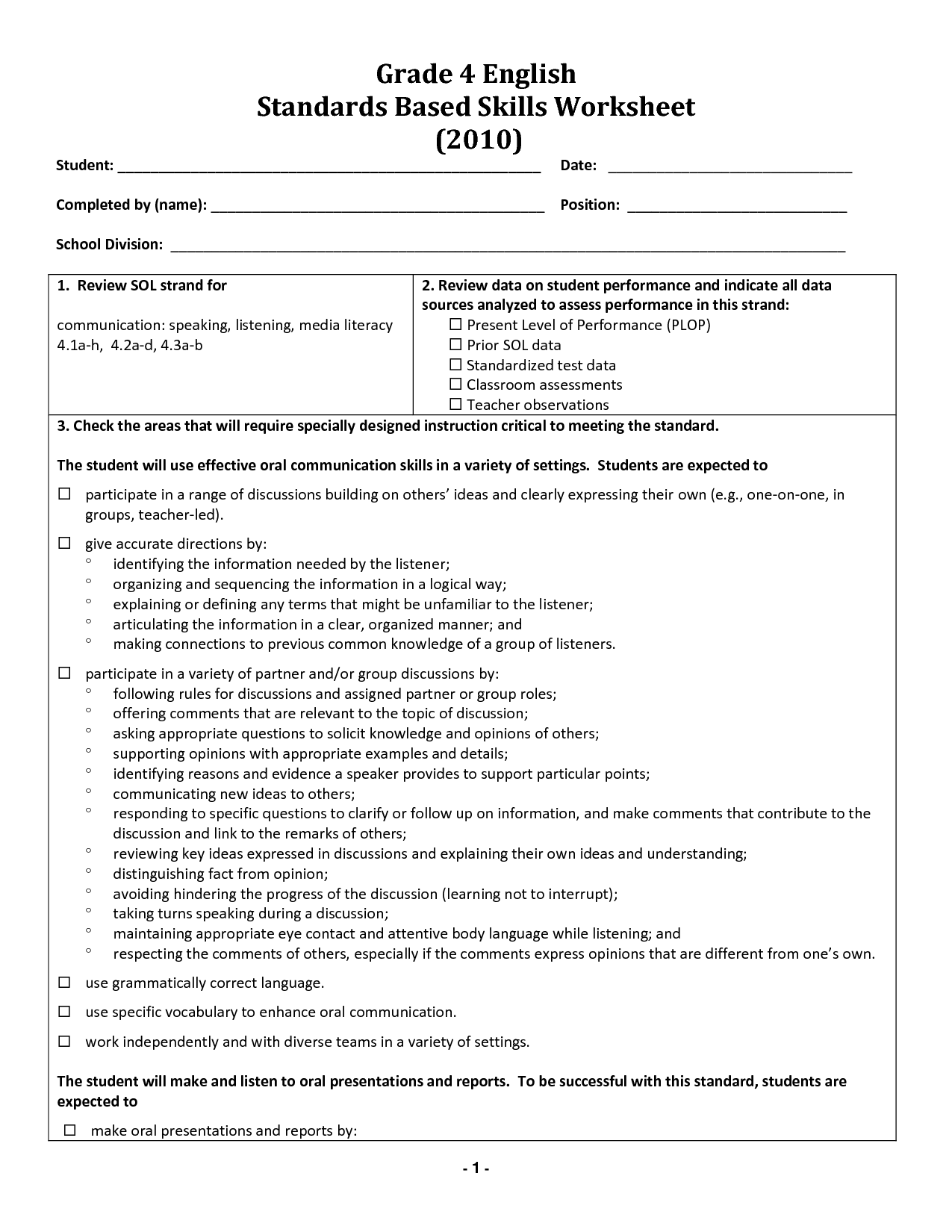 18 Best Images Of Free English Worksheets Grade 4