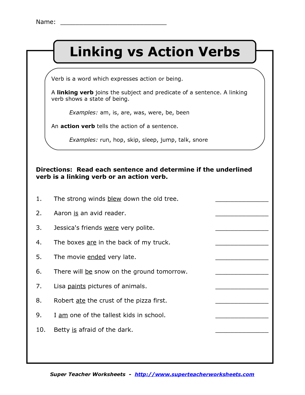Worksheet About Verbs For Grade 3