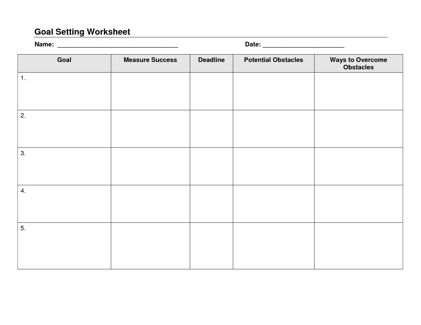 16 Best Images Of Weekly Goals Worksheet