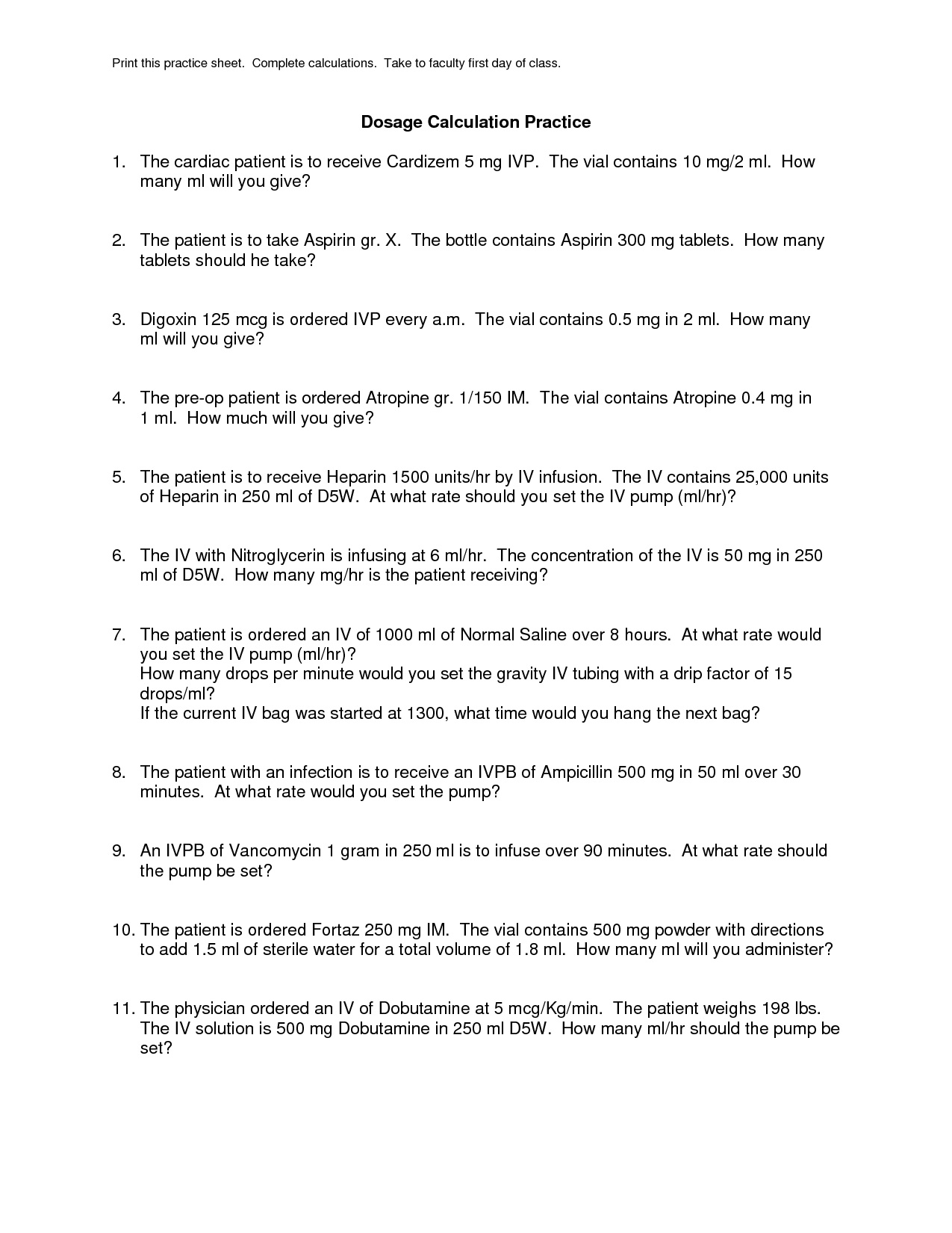 Math Dosage Calculation Worksheet Printable Math Best