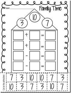 11 Best Images of Math Fact Family Worksheet Kindergarten